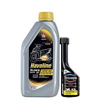 Bộ dầu nhớt xe tay ga Caltex Havoline SuperMatic 4T SAE 10W-40 1L kèm dung dịch vệ sinh buồng đốt