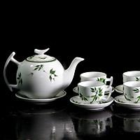Bộ tách trà gốm sứ Vẽ Trúc Xanh 600ml - quà tặng Ý NGHĨA