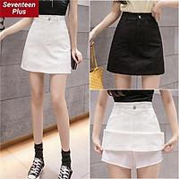 Chân váy ngắn phối túi chữ a nhiều size 2 màu đen trắng cho nữ thời trang