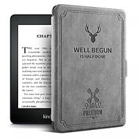 Combo Máy Đọc Sách Kindle Paperwhite Gen 10th (8GB - Màu Đen) và Bao da WELL BEGUN Màu Ghi Xám - Hàng Chính Hãng