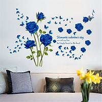 Decal dán tường hoa hồng nhung xanh - HP78
