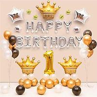 Set bong bóng trang trí sinh nhật, thôi nôi 1 tuổi cho bé tông bạc, vàng sang trọng, tinh tế YBHP-014