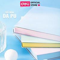 Sổ bìa da khổ A5 Deli -  96 trang màu pastel hồng/xanh dương/xanh lá - sổ tay ghi chép  - 22283
