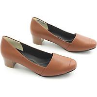 Giày Cao Gót 4cm Da Bò Thật Mũi Vuông Màu Nâu Pixie P234