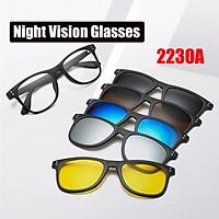 6 IN 1 2230A Night Vision Glasses Polarized Sunglasses With Carry Bag