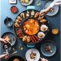 Bếp lẩu nướng điện đa năng 2 trong 1 thiết kế ấn tượng với màu xanh ngọc sang trọng