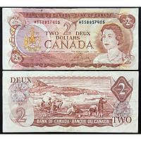 TIỀN XƯA CANADA 2 DOLLARS 1974 CHẤT LƯỢNG CŨ [TIỀN XƯA SƯU TẦM]