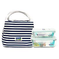 Bộ đựng đồ ăn trưa gồm túi giữ nhiệt  + hộp thủy tinh 400ml + hộp thủy tinh chia ngăn 670ml - Lunch40-67K