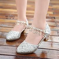 Giày cao gót bé gái 4 - 12 tuổi đính kim sa lấp lánh mix váy công chúa siêu xinh GE62