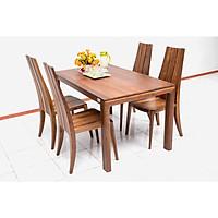 Bộ bàn ăn gỗ walnut Nội Thất Nhà Bên NAN  12 140 x 85 x 75cm (Nâu)