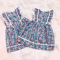 Đầm xòe cánh tiên cho bé gái 1-7 tuổi chất cotton nhẹ mát họa tiết hoa nhí màu sắc tươi tắn phối nơ ở eo – SD065