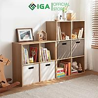 Kệ sách tổ ong vân gỗ dễ dàng kết hợp với bàn làm việc chính hãng IGA - GP100