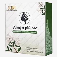 Nhuộm tóc phủ bạc KIM (50g) 100% tự nhiên từ bột lá Móng và lá Chàm - Nhuộm mầu Đen