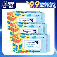 Combo 3 Gói Khăn Ướt Đa Năng Kháng Khuẩn Let-Green 80 Miếng/Gói