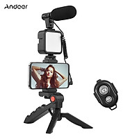Andoer Phone Vlog Video Kit with Table Tripod Phone Holder with Cold Shoe Microphone LED Video Light Remote Shutter