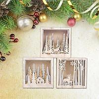 Christmas Decoration Wooden Lamp Small Square Box Decoration Window Pendant