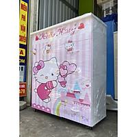 Tủ quần áo nhựa đài loan in 3D 2 cánh 5 ngăn cho bé gái siêu dễ thương