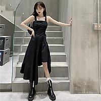 Váy 2 dây đuôi cá vạt lệch , Đầm Dáng Xòe Màu Đen Dự Tiệc, Thiết Kế Lệch Tà, Thời Trang 2021