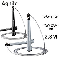Dây nhảy thể dục, giảm cân Agnite - Dài 2.8m - Có thể điều chỉnh độ dài, Lõi bằng thép cao cấp - Màu Xám/ Đen - Hàng chính hãng - F4137