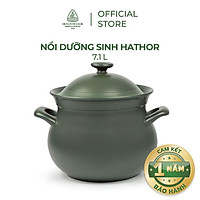 Nồi sứ dưỡng sinh Minh Long - Hathor 7.1 L + nắp dùng cho bếp gas, bếp hồng ngoại