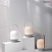 Đèn ngủ tiện dụng Baseus Moon-white Dimming Portable Lamp (Di động, Pin sạc 30 giờ hoạt động, 3000k/4000k/5000k độ sáng dễ chịu)hàng nhập khẩu