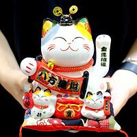 """Mèo Thần tài Mũ quan Vẫy tay 17cm """"Bát Phương Tấn Tài"""""""