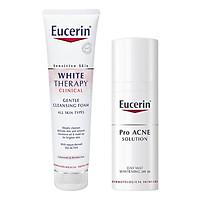 Bộ Kem Dưỡng Trắng Dành Cho Da Mụn Eucerin Day Mat Whitening SPF30 (50ml) Và Sữa Rửa Mặt Sáng Da Eucerin White Therapy Cleansing Foam (150ml)