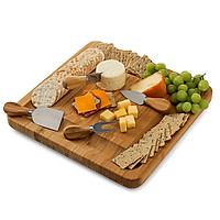 Bamboo Cheese Cutting Board with Knife Set Wooden Serving Tray for Charcuterie Meat Platter Fruit Crackers Slide Out
