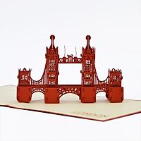 Thiệp nổi 3D handmade  London Tower Bridge pop-up card- Cầu tháp London size 15x15cm FB039