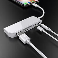 Bộ adapter chia cổng Lightning 5 trong 1 tích hợp đầu đọc thẻ TF/SD x cổng Audio Headphone 3.5MM x USB female x lightning female