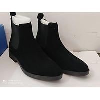 Chelsea boots lộn đen, đế crep