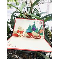 Thiệp 3D - Giáng sinh ông già Noel tạo dáng bên cây thông - NON42