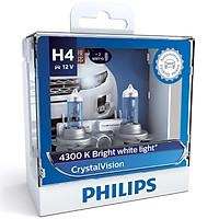 Hộp 2 Bóng Đèn Pha Xe Hơi Philips Crystal Vision H4 12342CVSM 12V 60/55W 4300K - Hàng Chính Hãng