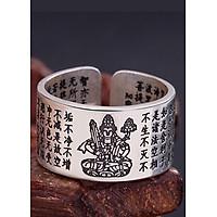 Nhẫn Bạc Thái 9999  Bát Nhã Tâm Kinh- Hư Không Tạng Bồ Tát Hộ Mệnh Tuổi Dần  Mệnh Kim MAN1-2