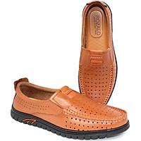 Giày lười nam da bò đục lỗ siêu thoáng đế cao su Rozalo R6893