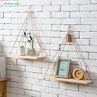 Kệ gỗ treo tường trang trí nội thất,  giá sách treo tường có dây thừng macrame, trang trí phòng khách, phòng ngủ