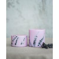 Combo 2 nến thơm hương lavender màu tím, trang trí cành hoa lavender.