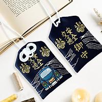 Túi gấm Omamori an toàn giao thông xanh đậm có kèm túi chống nước Túi Phước May Mắn dây treo trang trí