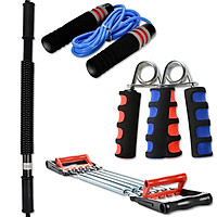 ENPEX home sports fitness Keep training set four-piece set 40KG arm force multi-function tension device 2 grips weight-bearing sponge bearing skipping rope random color