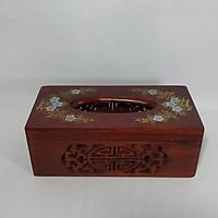 Hộp đựng giấy ăn khảm hoa văn gỗ Hương