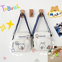 Túi vải đeo chéo nữ hình gấu giá rẻ BAG U VTO95