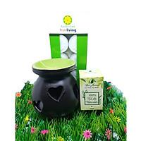 Combo đèn xông tinh dầu nến số 7 + tinh dầu sả chanh 10ml Bio Aroma tặng kèm 10 viên nến tealight (đèn giao màu ngẫu nhiên)