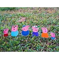 Bộ đồ chơi tô màu bằng gỗ gia đình hoạt hình heo peppa, quà tặng cho bé