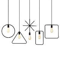 Bộ 5 đèn thả hình học trang trí khung sắt sơn tĩnh điện - Tặng kèm 5 bóng LED chuyên dụng