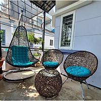 Bộ bàn ghế sân vườn + xích đu NAVICOM - Nệm canvas Xanh ngọc