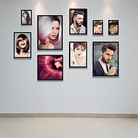 Bộ Khung Ảnh Treo Tường Tặng Free Bộ Ảnh Trang Trí Salon Tóc Nam Nữ Cực Đẹp, đinh treo tranh và sơ đồ treo - PGC227