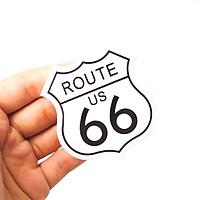 Route 66 chữ đen nền trắng - Sticker metal hình dán kim loại