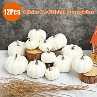 12PCS White Artificial Pumpkins Harvest Fall Halloween Decor Photography Props