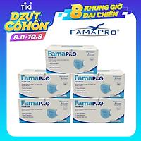 [CHÍNH HÃNG] COMBO 5 HỘP - Khẩu trang y tế cao cấp kháng khuẩn 4 lớp Famapro Premium xuất khẩu Châu Âu (40 cái/ hộp)
