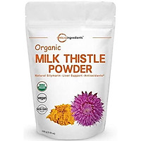 Maximum Strength Pure Organic Milk Thistle Extract Powder, 3.5 Ounces (100 Grams), Contains 80% Active Silymarin, Strongly Supports Liver Health and Antioxidant, No GMOs and Vegan Friendly